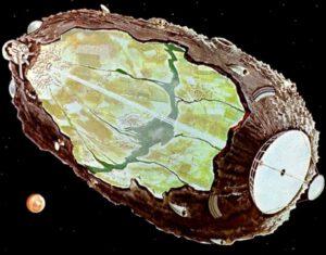 Utopická představa asteroidu postupně proměnného v lidskou kolonii. Obrázek vznikl na základě vize Dandridge M. Coleho.