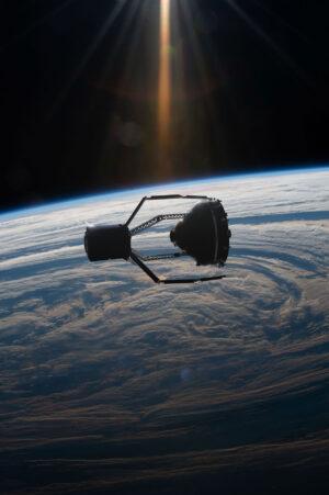 Umělecká představa momentu, kdy ClearSpace-1 zachytává adaptér VESPA.