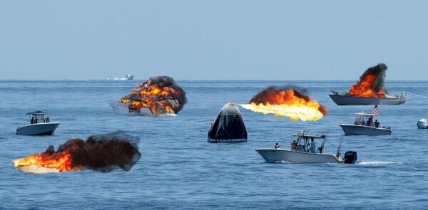 Snímek pořízený během utajených zkoušek nového systému lodi Crew Dragon, který má udržet lodě čumilů v bezpečné vzdálenosti.