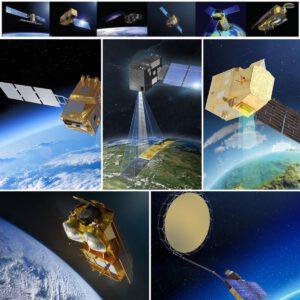 V horním řáídku vidíme družice z programu Sentinel a pod nimi drružice z navazujícího projektu Sentinel Expansions (CO2M, CHIME, CIMR, CRISTAL, LSTM, tedy bez ROSE-L).