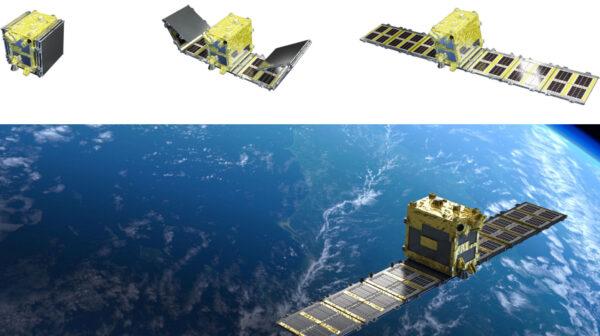 Proces rozkládání radarové antény družice StriX-α.