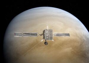 Umělecká představa průletu sondy Solar orbiter kolem Venuše.
