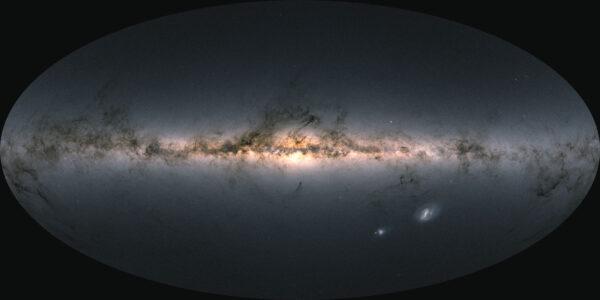 Tuto kompletní mapu oblohy tvoří 1,8 miliardy hvězd - údaje o pozici, jasu a barvě nasbírala sonda Gaia.