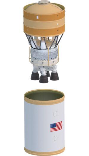 Horní stupeň EUS a adaptér pro jeho uložení v raketě SLS Block 1B