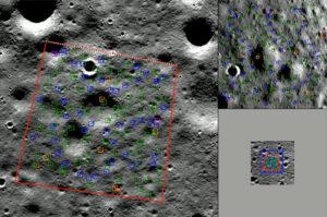 Vizualizace, jak systém BlueNav-L vyhodnocoval povrchové útvary během simulovaného přistání na Měsíci.