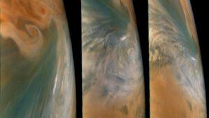 Oblasti atmosféry planety Jupiter, které se vyznačují suchým a teplým prostředím