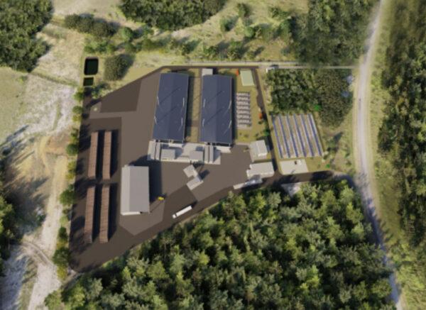 Umělecká představa areálu pro využití biomasy na kosmodromu CSG.