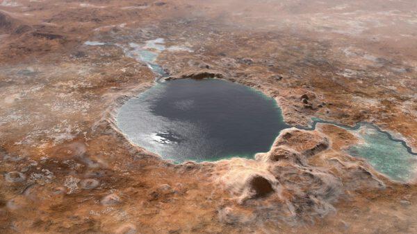 Umělecká rekonstrukce podoby kráteru Jezero v době existence jezera před několika miliardami let.