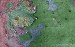 Geologická mapa oblasti přistání.