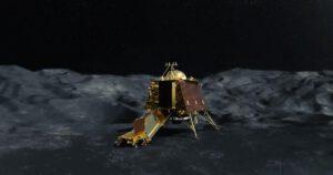 Vizualizace sestavy Čandraján na Měsíci.