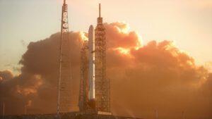 Vizualizace rakety New Glenn na rampě