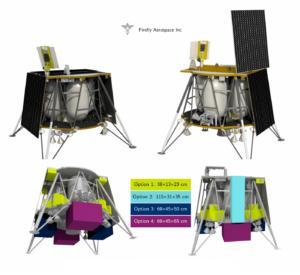 Konfigurace landeru Blue Ghost a rozmístění možného nákladu