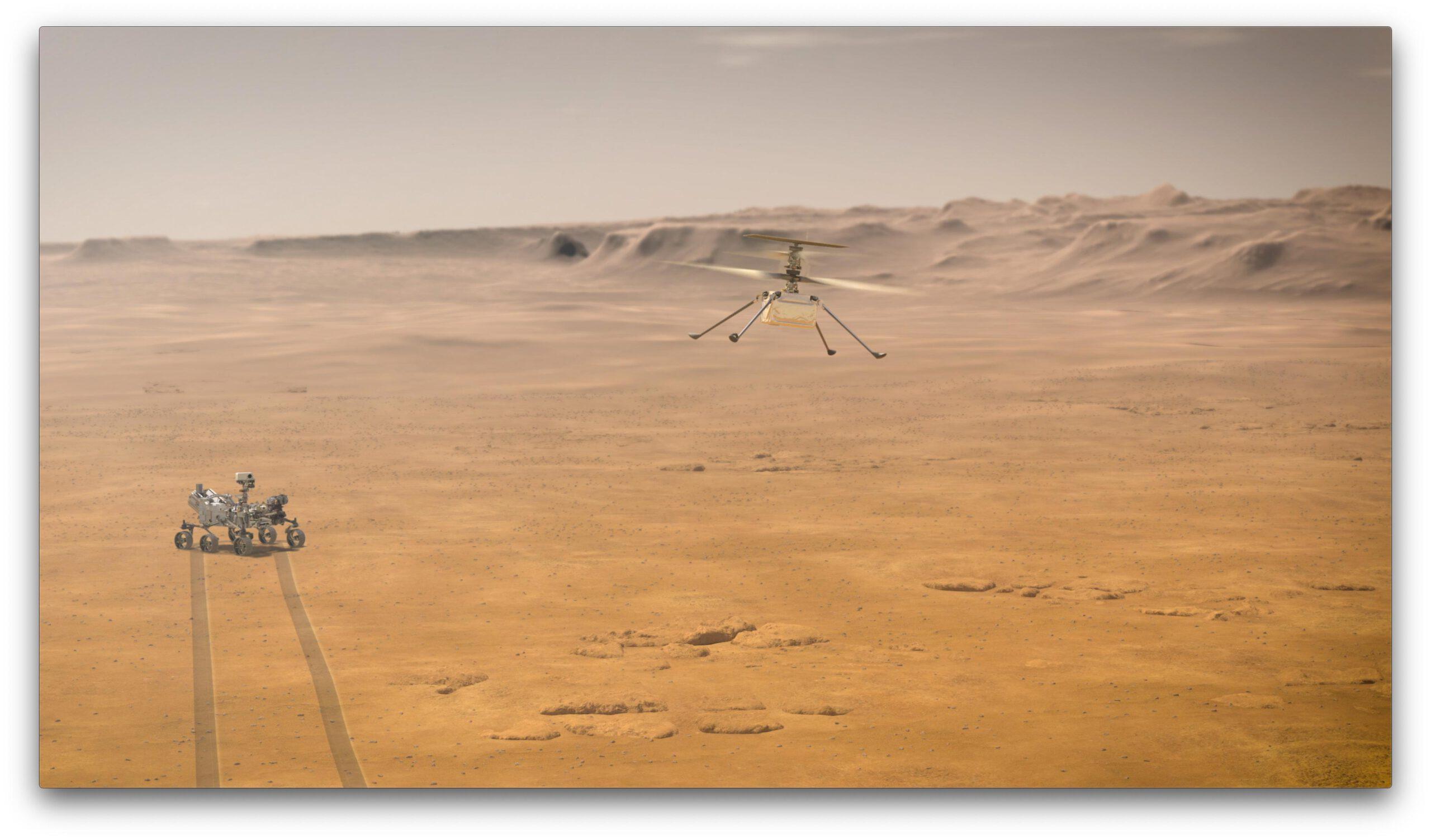Umělecká představa Ingenuity létající na Marsu. Ilustrace: NASA/JPL-Caltech