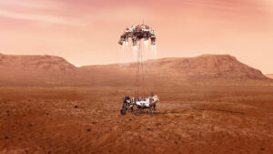 Závěrečná fáze přistání Perseverance na Marsu jak ji přibližuje kresba od NASA