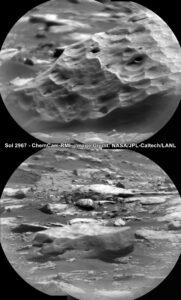 Curiosity, sol 2967, detail meteoritů pomocí ChemCam, zdroj: NASA/JPL-Caltech/MSSS, unmannedspaceflight.com