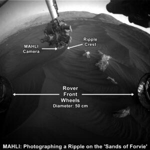 Curiosity, sol 2089, Sands of Forvie, průzkum pomocí kamery MAHLI, zdroj: NASA/JPL-Caltech/MSSS, www.unmannedspaceflight.com