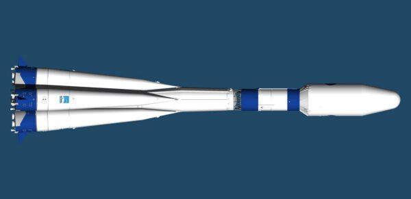 Takto by měla vypadat celá raketa Sojuz-2 v modro-bílé variantě