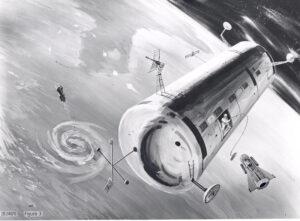 Jeden z raných konceptů orbitální laboratoře v barvách USAF