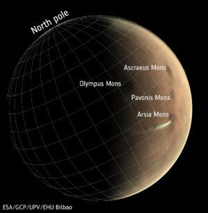 Od 13. září 2018 kamera VMC na sondě Mars express sledovala vývoj podivného oblaku, který se pravidelně objevoval v okolí dvacet kilometrů vysoké sopky Arsia Mons v okolí rovníku Marsu. Snímek z kamery VMC pořízený 10. října 2018 zachycuje tento bílý oblak, který se táhne až do vzdálenosti 1500 kilometrů západně od sopky.