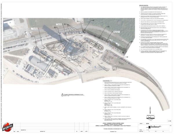 Podrobné umístění infrastruktury pro stavbu plošiny ML-2 v Cape Canaveral, zakreslené do archivní fotografie ze stavby ML-1