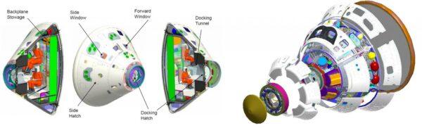 Infografika lodi Orion je sice starší, ale je na ní dobře vidět dokovací tunel.