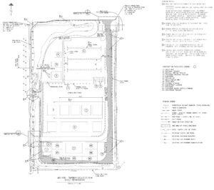 Detailní plánek pronajaté plochy v Port Canaveral. Umístění výrobního stanu je označeno číslem 7, plocha pro jeřáb číslem 8.