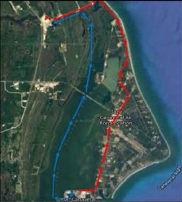 Přepravní trasy pro segmenty věže ML-2. Primární trasa je znázorněna červeně.