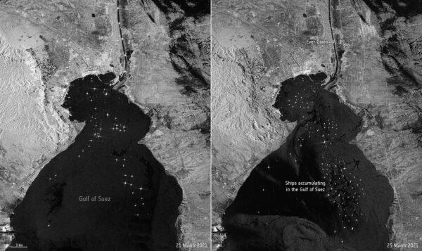 Čekající lodě před ústím Suezského průplavu