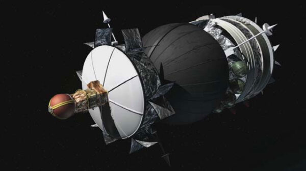 Figure 5: YES2 (oranžovo-červená část vlevo) zvenku na družici Foton. Kulovitá část skrývá kapsli Fotino.