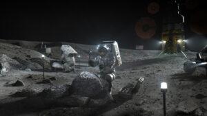 Umělecká představa astronautů z programu Artemis během práce na lunárním povrchu v okolí jižního pólu.