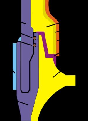 Zjednodušený řez spoje boosteru SRB, A představuje horní a spodní segment, B a C jsou kritické o-kroužky, H je žáruvzdorný tmel Zdroj: