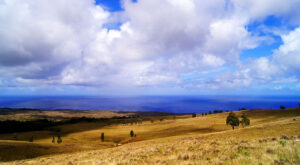 Typická krajina Velikonočního ostrova