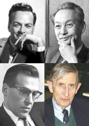 4 muži QED, horní řádek zleva Feynman a Tomonaga, spodní řádek zleva - Schwinger a Dyson
