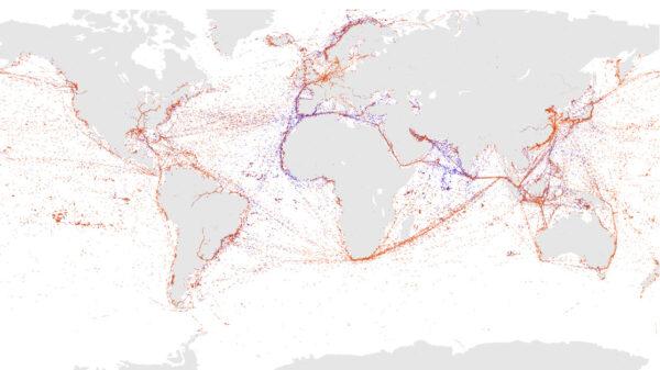 Pozice lodí, od kterých družice ESAIL přijala v jeden den přes dva miliony zpráv.