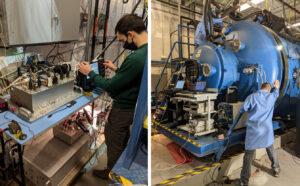 Vlevo kontrola řídicí elektroniky motoru BHT-6000, vpravo uzavření vakuové komory