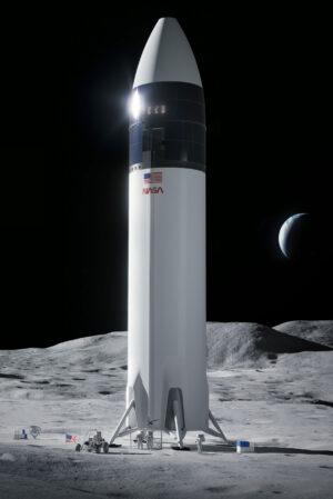 Návrh lunárního landeru od SpaceX, zveřejněný 16.4.2021 v tiskové zprávě NASA