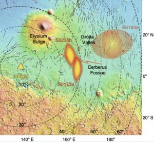 Předpokládaná oblast vzniku dvou marsotřesení z roku 2019 v Cerberus Fossae. Zdroj: https://cdn.arstechnica.net/