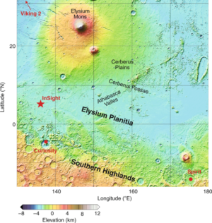 Místo přistání InSight poblíž sopečné oblasti Elysium. Zdroj: https://media.springernature.com/