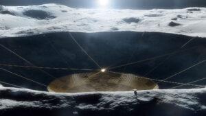 Vizualizace radioteleskopu v kráteru na odvrácené straně Měsíce.