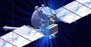 Vizualizace narušení magnetického pole v okolí sondy Europa Clipper.