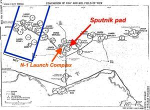 Srovnání zorného pole KH-7 a MOL na příkladu snímání kosmodromu Bajkonur. Kroužky znázorňují zorné pole DORIANu.