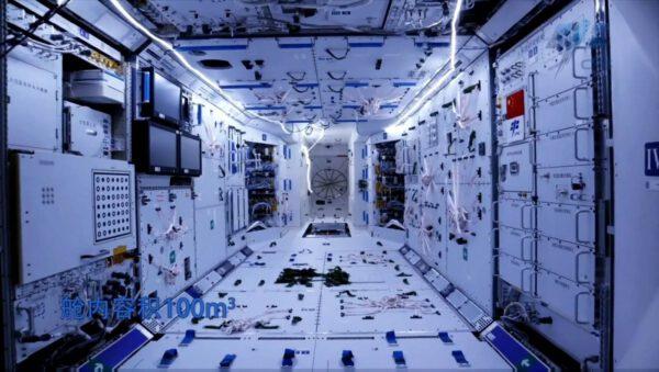 Interiér nové čínské kosmické stanice
