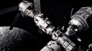 Vize stanice Gateway s připojeným Orionem, zásobovací lodí Dragon XL a lunárním landerem pořízeným v rámci smlouvy LETS