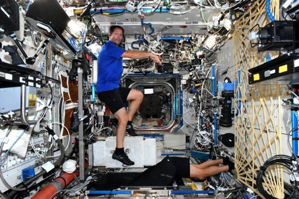 Typický den v srdci ISS, laboratoři Destiny. Ty nohy dole patří Shaneovi, který využil po konci tréninku chvíli času a otevřel clonu okénka ve spodní části laboratoře. Před umístěním modulu Cupola to bylo jediné místo, kde se dala pozorovat Země (z americké části stanice). Hádejte, jaké nohy tam nejčastěji čouhají, když letíme nad Evropou? :) Zdroj: flickr.com