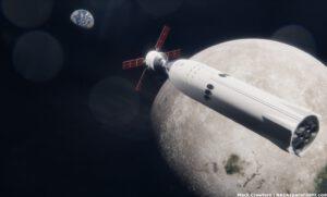 Vizualizace lodi Orion a lunárního landeru Starship při misi Artemis