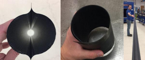 Tři obrázky demonstrují výhody konmpozitního nosníku - nízkou hmotnost, flexibilitu a přitom pevnost. Tento lehký mateirál se tedy snadno stočí a přitom poskytne odolnost proti ohýbání vlivem tepla od Slunce.