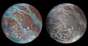 Mozaika snímků a geologické mapy měsíce Ganymedu byly sestaveny z nejdokonalejších snímků sond Galileo, Voyager 1 a 2.