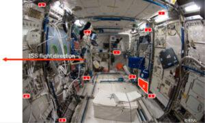 Rozmístění dozimetrů v evropském modulu Columbus na ISS v rámci projektů DOSIS a DOSIS 3D
