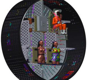Umístění antropomorfních fantomů Helga a Zohar na palubě lodi Orion při letu Artemis 1
