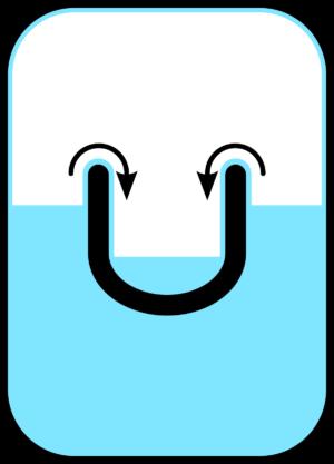 Šipky znázorňují jakým směrem teče helium do menší nádoby až dokud se hladiny nesrovnají. Všimněte si tenké vrstvy helia po stěnách větší nádoby